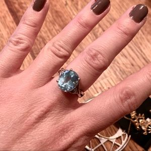 Jewelry - Blue topaz and diamond sterling silver ring